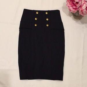 Diane Von Furstenberg black button pencil skirt